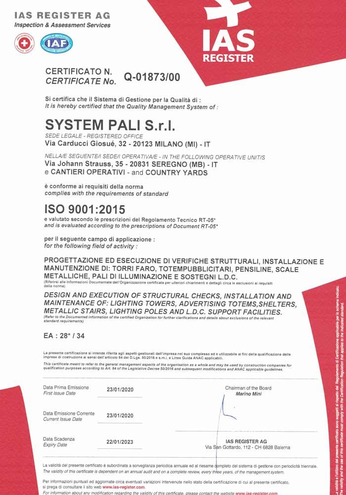 SYSTEM PALI SRL REV.00 Q